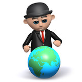3d Bowler hat businessman goes global