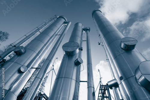 gas pipes construction inside oil refinery