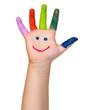 bunt bemalte Kinderhand