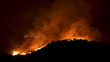 Wildfire Raging In Hills (HD Time-Lapse)