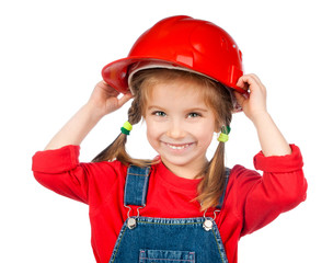 beautiful little girl in the construction helmet