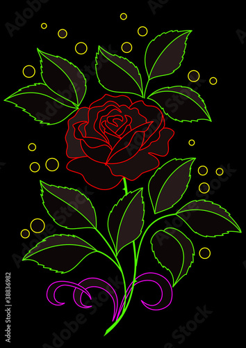 Rose flower, silhouettes on black