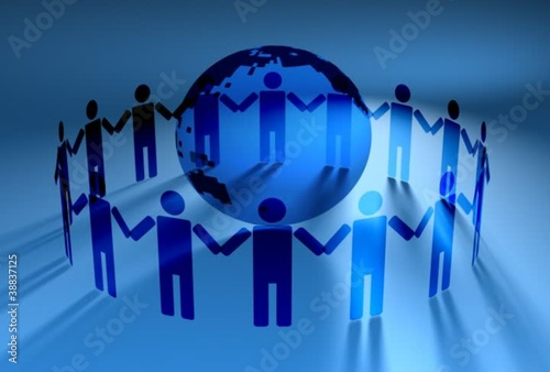 Network of People Around World 3D Vector Animation