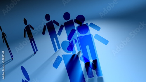 Network of People 3D Vector Animation