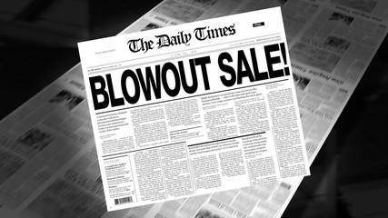 Blowout Sale! - Newspaper Headline (Reveal + Loops)
