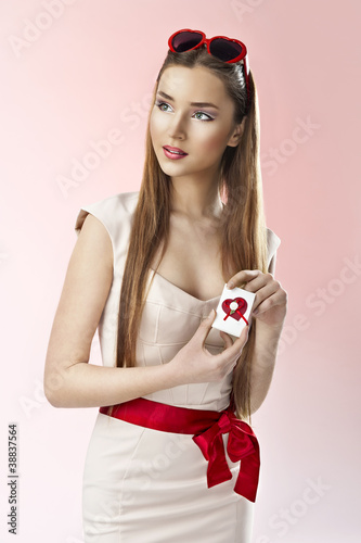 valentine's day portrait of an attractive young brunette girl