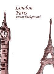 Путешествия, Париже, Англии, вектор фон