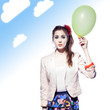 Funny girl with a balloon