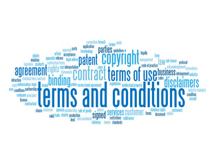 """TERMS AND CONDITIONS"" Tag Cloud (legal use contract button)"