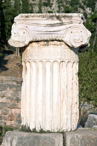 Ancient column. Archaeological Site of Delphi, Greece