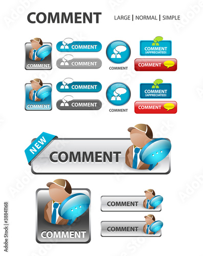 comment button, Comment speech icons and buttons