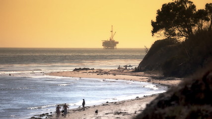 Offshore Oil Rig Drilling Platform - Pacific Coast