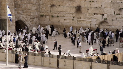 Stock Video Footage of Jews at the Western Wall filmed in Israel at 4k with Red.