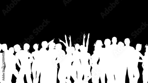 People Dancing Silhouette 3D Vector Animation