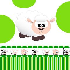 pecora - fascia con pecorella, maialino e mucca