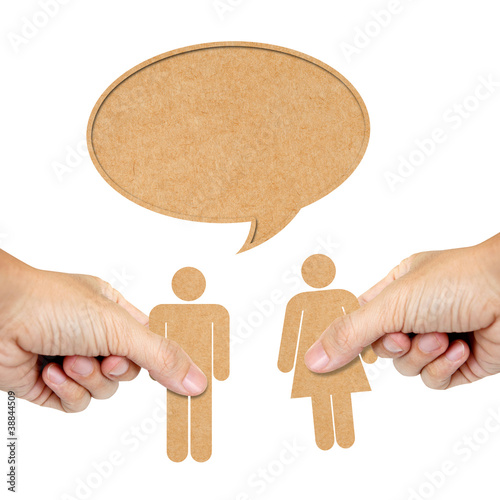 paper human male and female with speech bubble