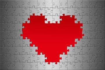 Puzzle Aluminium gebürstet Herz Hintergrund rot