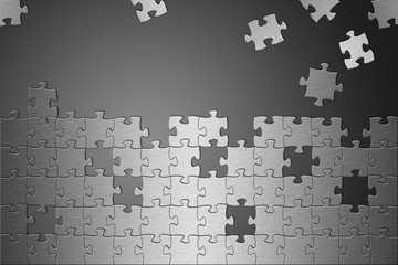 Puzzle Aluminium gebürstet fehlende Teile grau
