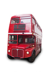 Bus rouge londonien, isolé fond blanc