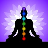 Yogi with chakras. Silhouette of man in lotus position.