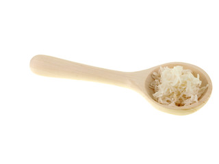 cooked rice on a wooden spoon