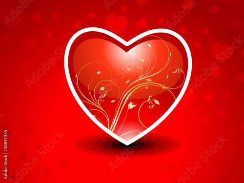 abstract red heart with floral