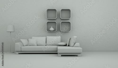 Modell - Sofa mit Stehlampe