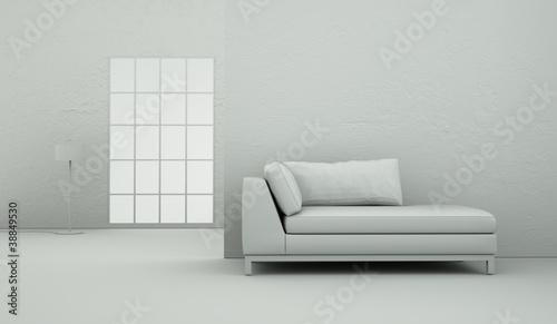 Modell - Sofa schlicht mit Fenster