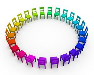 Stühle in Regenbogenfarben