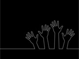 line of hands, abstract vector illustration for design.
