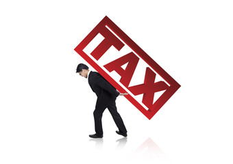 Businessman carry a tax sign
