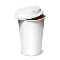 Plastic cup of coffee with an open lid