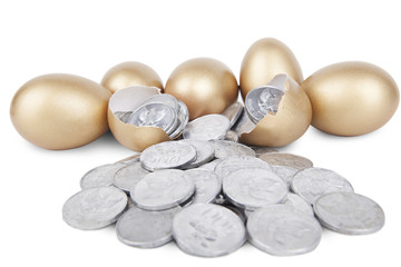 Golden eggs with coins