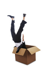Man falling down into a box