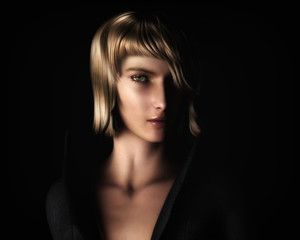 Beautiful Blonde Woman in Chiaroscuro Style Light