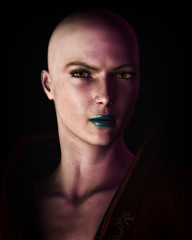 Strong Bald Futuristic Sci-Fi Woman Artistic Portrait