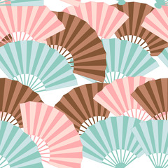 Colorful japanese fan seamless pattern