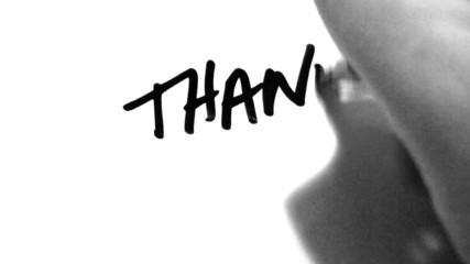 Writing Thank You! on White