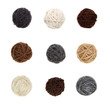 Nine differnt balls of yarn in neutral colors