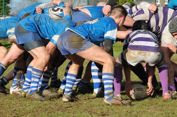 une mélée au rugby
