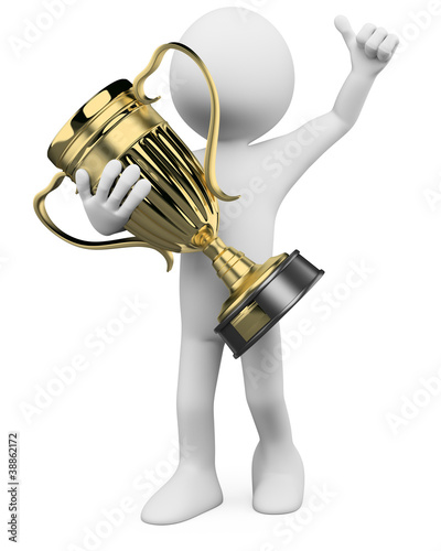 3D Winner with a gold trophy in the hands