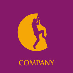 Logo rock climber, successful concept # Vector