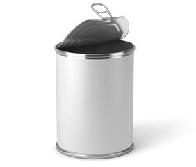 Boite de conserve métallique sur fond blanc 4