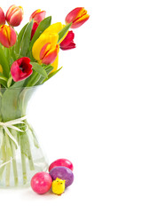 Easter greeting card with tulips in vase