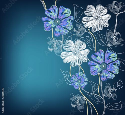 Sfondo con fiori disegnati a mano immagini e vettoriali for Fiori disegnati