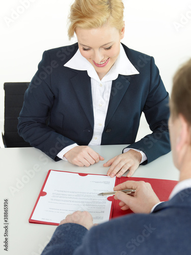 Woman is checking the job characteristics in a job interview
