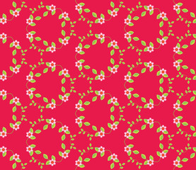 Dark pink pattern design with seamless twigs, leaves and small f