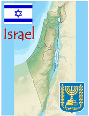 israel middle east map flag emblem