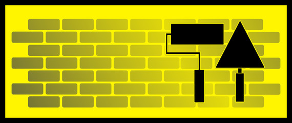 yellow background with brick wall, roller and trowel