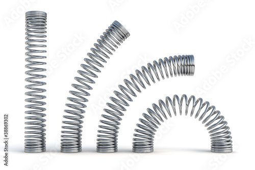 metal springs 3d render illustration